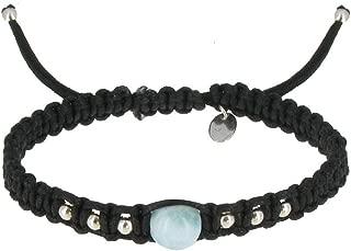 Les Poulettes Jewels - Shamballa Bracelet Silver and Blue Dominican Larimar