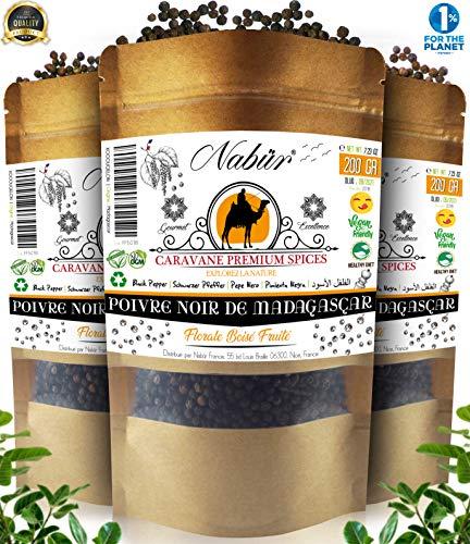 Poivre Noir de Madagascar 205 Gr ⭐ NABÜR ⭐ Fumé, Riche, Parfums Puissants ⭐ Cueillis à La Main ❤️ Sachet Refermable (205)