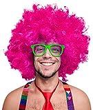 Balinco 280g XXL Afro PERÜCKE Lockenkopf Wig Black Afroperücke Lockenperücke Fasching Karneval schwarz, weiß, blond, rot, türkis, grün, pink (Pink)