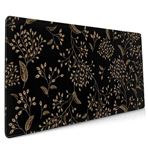 Gaming Mouse Pad Floral Vintage Seamless Pattern Black Gold Desk Pad for Keyboard and Mouse Large Big Computer Keyboard Mouse Mat Desk Pad with Non-Slip Base for Home Office Gaming Work, 35.4x15.7inc