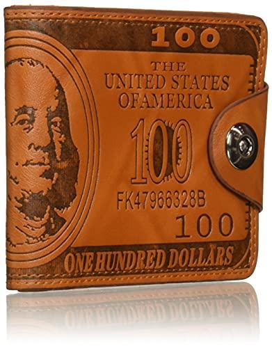 Men Vintage US Dollar Printed Fashion Wallet Hasp Credit Card Purse(Brown)