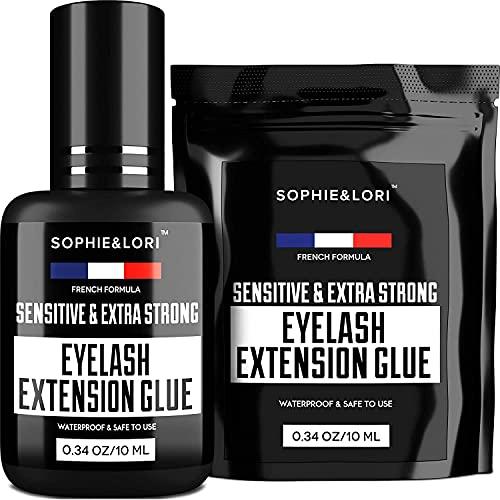 Eyelash Extension Glue - Individual False Lashes - Black Adhesive Kit for Professional Use - 1-2 Sec Dry Time & Up to 8 Weeks Lash Lasting - Extra Strong, Waterproof & Latex Free - Large Bottle 0.34oz