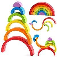 GIOCATTOLO DI RAINBOW IMPILANTE: i blocchi arcobaleno sono piatti che li rende in piedi bene. Il blocco arcobaleno di nidificazione e accatastamento impostato in 6 diversi colori e dimensioni. Giocattoli di apprendimento perfetti per i tuoi bambini. ...