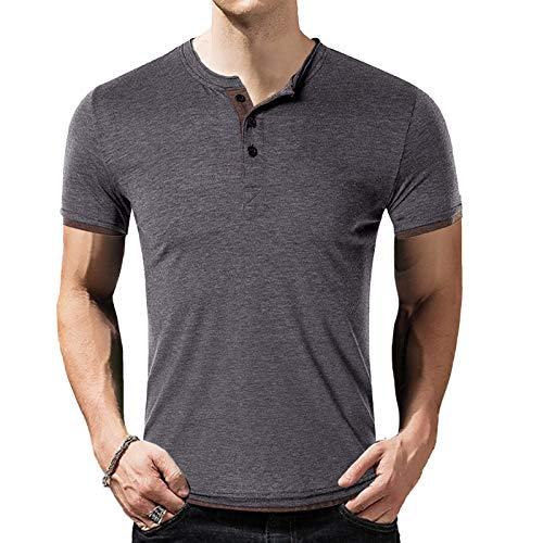 Herren T-Shirt Kurzarm Shirt mit Grandad-Ausschnitt Baumwolle Männer T-Shirt grau