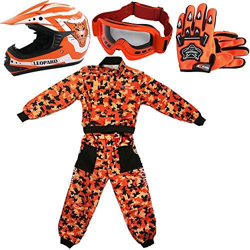 Leopard LEO-X17 Naranja Casco de Motocross para Niños (L 53-54cm) + Gafas + Guantes (L 7cm) + Camo Traje de Motocross para Niños - M (7-8 Años)