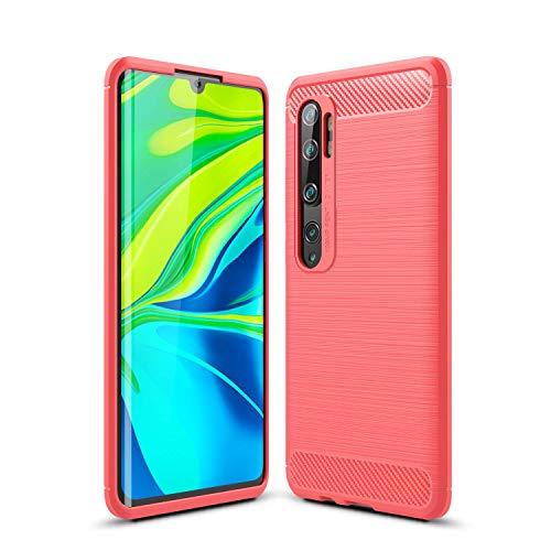 Lapinette Case Compatible with Xiaomi Mi Note 10 Carbon Fibre – Mi Note 10 Soft Flexible Protection – Mi Note 10 Premium Carbon Case Red