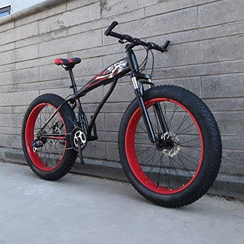 WN-PZF 21-Gang-Fahrrad, Outdoor-Sport-Mountainbike-Snowbike für Erwachsene, 4-Zoll-Verbreiterungsräder + Scheibenbremssystem + Rahmen aus Kohlenstoffstahl,A,24 inches