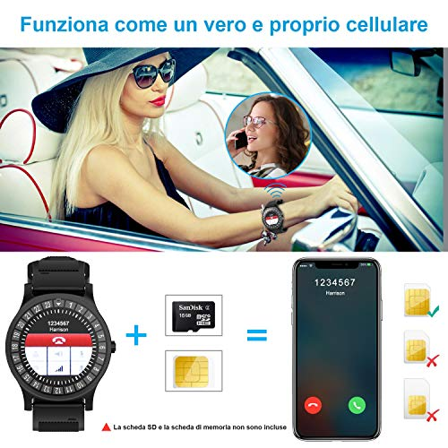 Smartwatch AIVEILE, Orologio Intelligente con slot SIM, Schermo touch con Notifiche Camera e Fitness Tracker per iPhone Samsung Xiaomi Huawei, Uomo Donna Sport Smart Watch con micro SD per Android/IOS