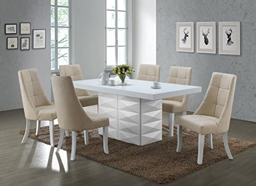 """Kings Brand Furniture Milan 7 Piece White Modern Rectangle Dinette Dining Room Table & 6 Grey Vinyl Chairs, 70.9"""" W x 39.4"""" D x 30.5"""" H"""
