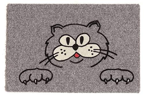 Betz Fußmatte Fußabstreifer Schmutzfangmatte Katze mit 2 Pfoten Farbe grau Größe 40x60cm