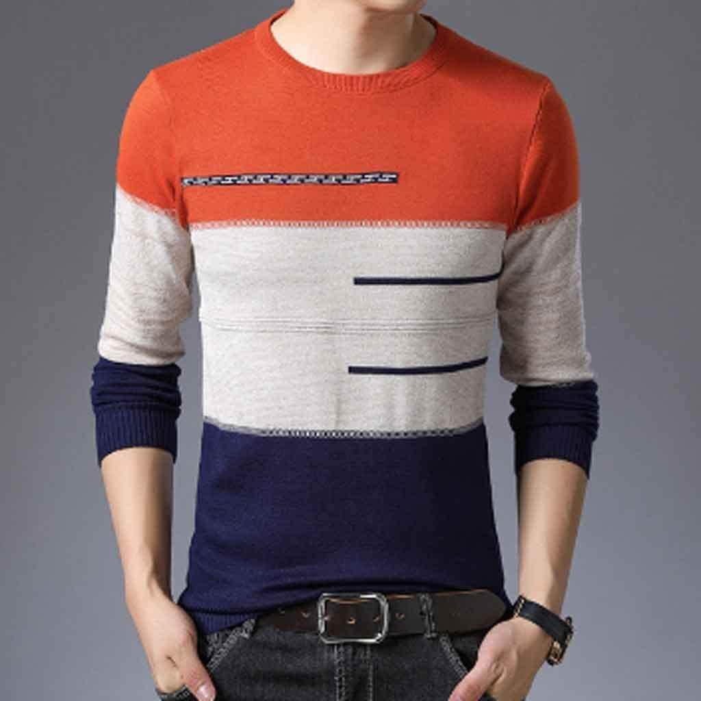 ZYING Autumn Winter Pullover Men Round Collar Striped Cotton Sweaters Slim Fit Pull Homme Knitwear (Color : XXL Code)