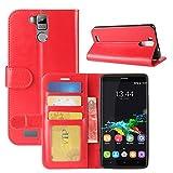 HualuBro Oukitel K6000 Pro Hülle, Retro PU Leder Leather Wallet HandyHülle Tasche Schutzhülle Flip Hülle Cover für Oukitel K6000 Pro Smartphone - Rot