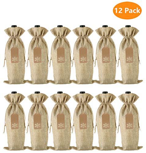 Bolsas de regalo de vino de arpillera, 12 piezas de yute con cordón para botellas de vino con etiquetas y cuerdas para Navidad, boda, viajes, cumpleaños, fiesta (natural)