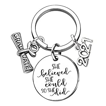 MIAOGIFT Graduation Gift Inspirational Motivational Quotes Keychain She Believed She Could So She Did Stainless Steel Key Chain Best Sister Friend Gifts Silver 25