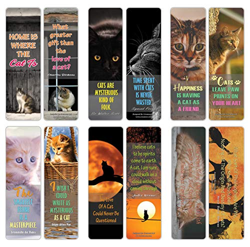 Creanoso Cats Quote Sayings Pet Bookmarks (30-Pack) – Six Assorted Quality Bookmarker Cards Bulk Set – Great Giveaways Collection – Premium Bulk Gift Set for Cat Owners and Pet Lovers – Book Clip