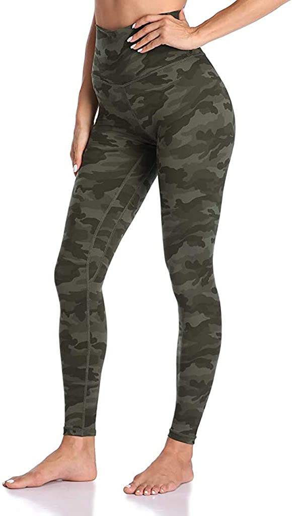 TOTOD Women Womens Sport High Waisted Yoga Pants Camouflage Print Leggings Activewear(Army Green,S)