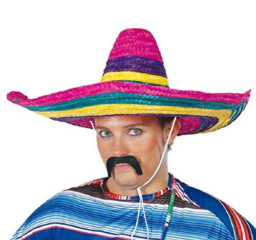 shoperama Bunter Stroh Sombrero 50 cm mexikanischer Hut groß Mexikaner Mexiko Kopfbedeckung Kostüm-Zubehör