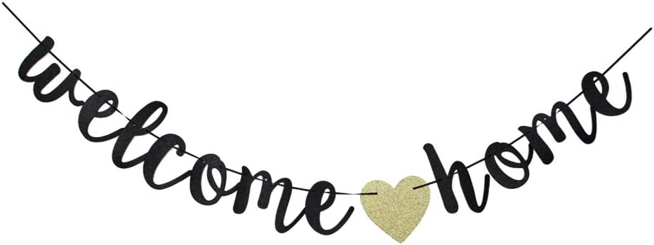 Welcome Home Banner, Home Party Sign Decors, Black Family Theme Party Bunting Props Supplies