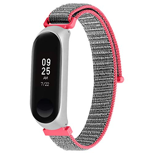Jennyfly Correa de reloj Xiaomi Mi Band 5, correa de reloj de repuesto de nailon suave para mujer Pulsera transpirable delgada ajustable 5.5-8.1 pulgadas (14-20.6cm) - Rojo+Gris