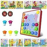 HUYIYI Tablero de Mosaicos Infantiles, Puzzle 3D, Rompecabezas Niños de Uñas Setas, Tablero de Coincidir Colores con 35 Botones y 12 imágenes, Juguete Educativo Temprano para niños y bebés de 3+años