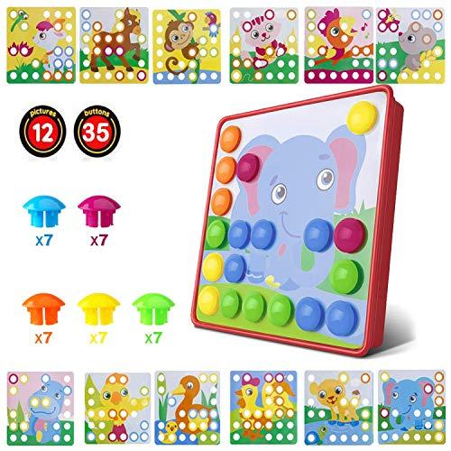HUYIYI Gioco Bottoni per Bambini Tavoletta con Chiodini, Gioco Prima Infanzia Arte Cartoni Puzzle con Bottoni, Giocattolo Educativo con Chiodini, Compleanno per Bambini di 2 3+ Anni