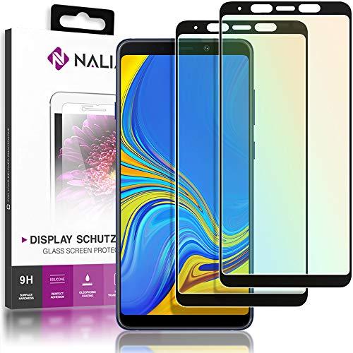 NALIA 2-Pack Bildschirm-Schutzglas kompatibel mit Samsung Galaxy A8 (2018), Handy Display Glas Abdeckung, Dünne Schutz-Folie, Smart-Phone TPU Screen Protector - Kristall-Klar Transparent (schwarz)