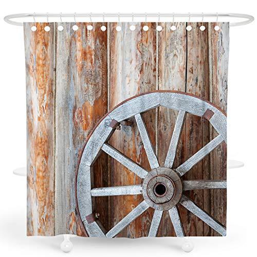 DESIHOM Bauernhaus-Duschvorhang, rustikaler Duschvorhang aus hellbraunem Landhaus-3D-Holz Duschvorhang Fall Vintage Duschvorhang Scheunentür Duschvorhang Polyester Wasserdicht Duschvorhang 72 x 72