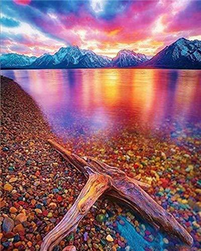 Bricolage diamant peinture paysage de bord de mer diamant broderie peinture strass coucher de soleil mosaïque diamant peinture A1 plein carré 50x70 cm