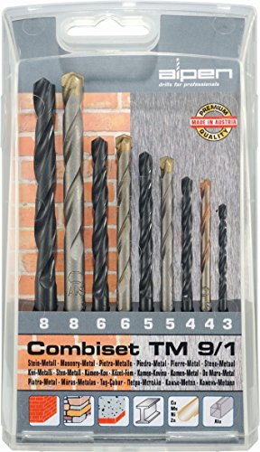 Boor/Combiset TM 9/1, metalen en steenboren 9-delig | universele muurboor type Long Life in gefreesde uitvoering, voor metselwerk en natuursteen | universele spiraalboor voor (on) gelegeerd staal