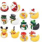 12 Juguetes de Baño de Patos de Goma Navideños| Papá Noel, Muñeco de Nieve,...