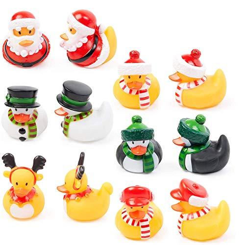 12 Weihnachten Badeente Badespielzeug, Rubber Duck| Weihnachtsmann, Schneemann, Rentier| Mitgebsel, Mitbringsel, Geschenke, Weihnachtsstrumpffüller für Babys Kleinkinder Kinder.