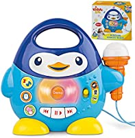 KiddoLab Penguin Music Player and Karaoke Microphone for Kids Playtime Fun. Toddler Music and Karaoke Toy Microphone....