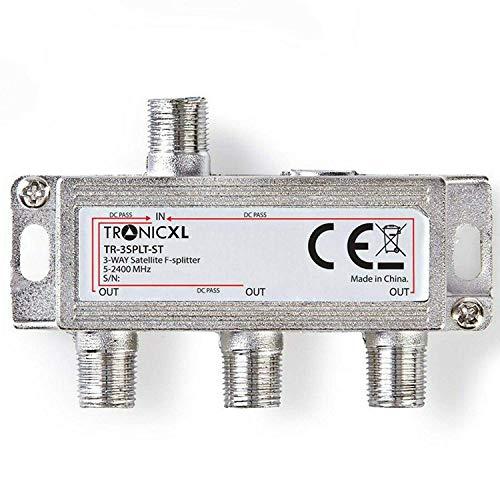 TronicXL 3fach F-Stecker Antennenverteiler 3-Fach DC-Durchlass TV Kabel Kabelfernsehen BK DVB-T2 zb für kompatibel mit Unitymedia Splitter HD tauglich 4K Sky Virgin Sat Splitter
