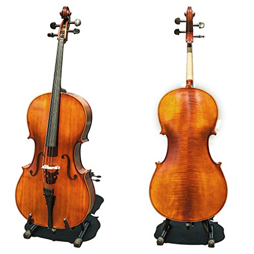Paititi CE3005PE Scholar 256 Ebony Fitted Matte Finish Wood Cello with Soft Case, Brazilwood Bow, Rosin and Stopper (1/2)