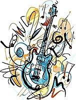 DIYデジタルキャンバス油絵大人キッズペイントナンバーキットブラシとアクリルペイントギター16x20インチフレームなし