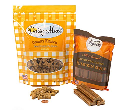 Daisy Mae's Premium Quality Dogs Treats, Country Kitchen and Free Spirit Collection, Made in The USA, Wholesome, Healthy Ingredients (Sweet Potato Pie-Pumpkin Spice Chews, Combo Pack)