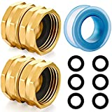 YELUN Solid brass Garden Hose Fittings Connectors Adapter Heavy Duty Brass Repair female to female double female faucet leader coupler dual water hose connector(3/4'GHT Double Female) 2 Pcs