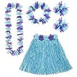 Widmann 24567 – Hawaii Set, 5-teilig, blau, Hawaiirock mit Blumengürtel, Blumenkette, Haarband...