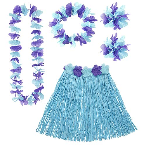 Widmann 24567 – Hawaii Set, 5-teilig, blau, Hawaiirock mit Blumengürtel, Blumenkette, Haarband und 2 Armbänder, Accessoire Set, Sommerparty, Hawaii Party, Motto Party, Karneval