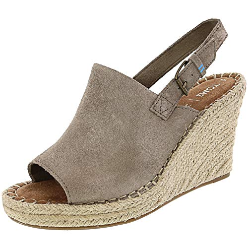 TOMS Desert Taupe Suede Women's Monica Wedges (Size: 6.5)
