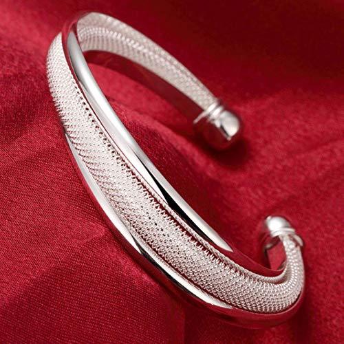 WDam Pulsera Abierta de corazón Redondo de Plata de Estilo Moderno para Mujer Brazaletes de puño de Moda, 2
