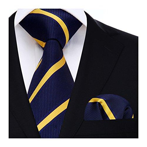HISDERN Panuelo de lazo a rayas de boda Panuelo de hombre y conjunto de bolsillo de cuadrada Amarillo/azul marino