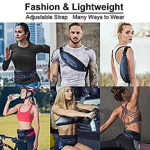 Skywoo Running Belt Waist Pack, Ultra Light Waist Pouch Waist Bag Travel Money Bag Fanny Pack Workout Night Reflective Runner Waist Pack iPhone X 6 7 8 for Men and Women