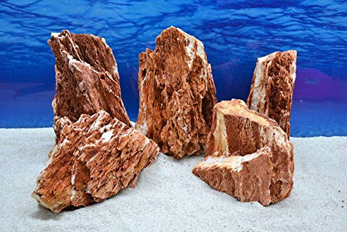 Pro Stein Aquarium Deko Samurai rot braun Laub Natursteine 4,5-5,5 Kg Felsen Nr.56 Pagode Dekoration Aquascaping