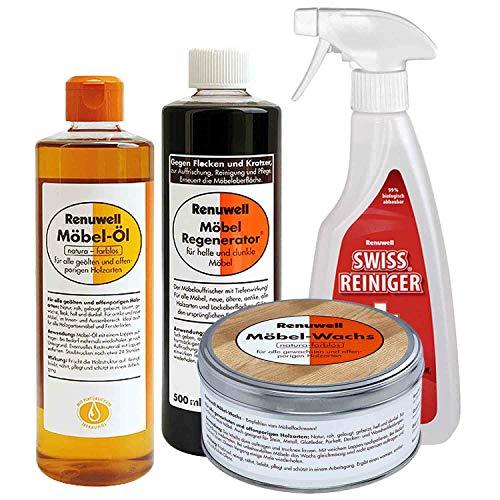 Renuwell Möbel Öl 500 ml + Regenerator 500 ml + Wachs 500 ml + Swiss Reiniger 500 ml Spar-Set
