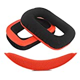 Geekria Replacement Earpads Ear Pads Cushions for Logitech G430 G930 Headphones + Replacement Headband/Cushion Pad Repair Parts (Red-Black)