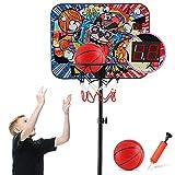 PELLOR Canasta de baloncesto para niños, soporte de baloncesto, ajustable, portátil, juego de baloncesto con pelota y bomba marco de exterior para niños, canasta de baloncesto exterior