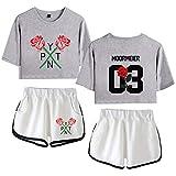 Payton Moormeier Conjuntos Deportivos para Mujer Chándales Deportiva Camiseta y Pantalones Crop Top Deportiva Corto T-Shirt Verano para Yoga Fitness