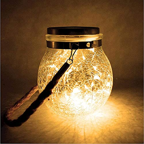 Gaojian Lámpara De Jardín Al Aire Libre Solar, Luces Colgantes, Luz De Bolas De Cristal Agrietada Redonda, Impermeable LED Jardín Cerca Fiesta De Navidad Boda Arden Decoración Al Aire Libre