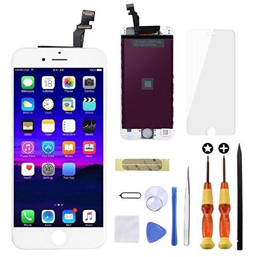 GULEEK Kompatibel mit iPhone 6 Display Ersatzset LCD Touchscreen mit Reparaturanleitung und komplett kostenlosem Tool (Weiß)